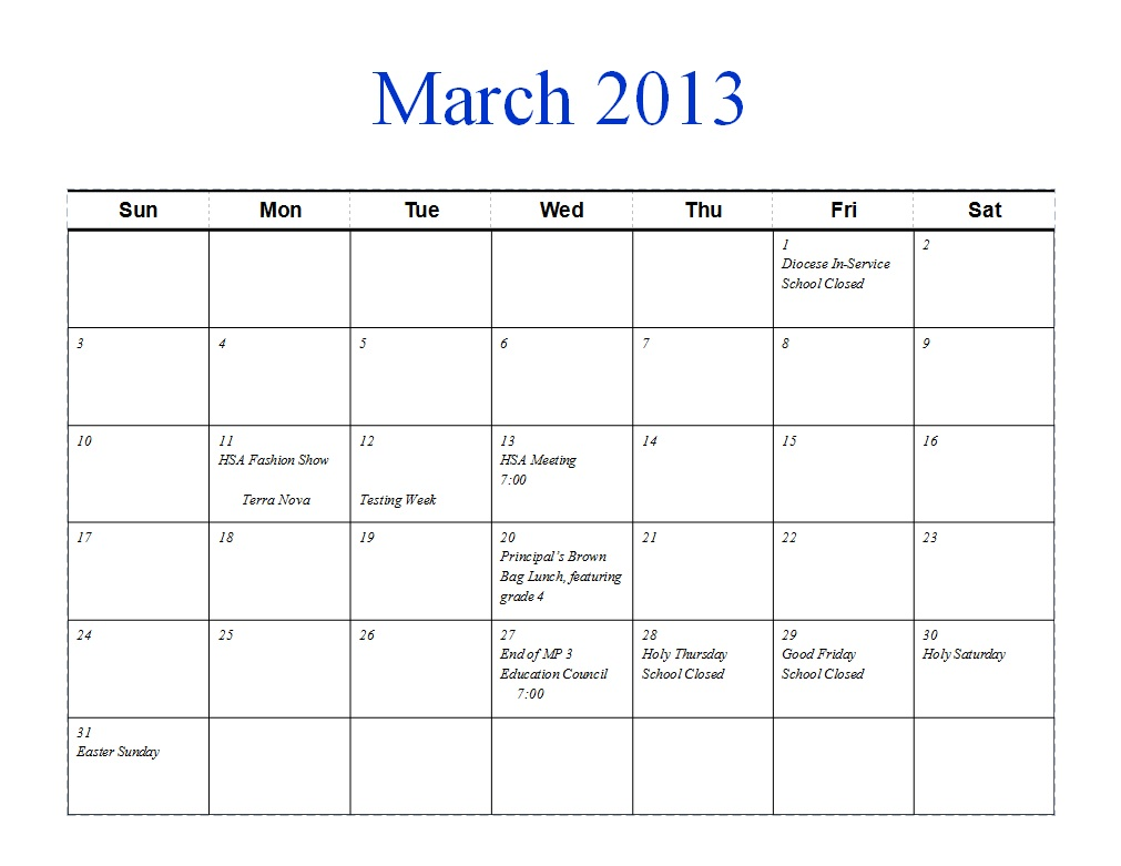 March 2013 Calendar by Month